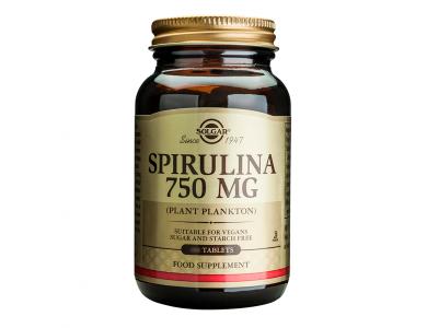 Solgar Spirulina 750mg, Πηγή Πρωτε?νης για Vegans, για Τόνωση του Οργανισμού & Έλεγχο του Βάρους, 80tabs
