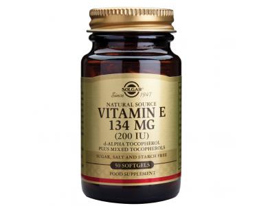 SOLGAR Dry Vitamin E 200IU 50VCAP, Αντιοξειδωτική Δράση & Ενίσχυση του Καρδιαγγειακού