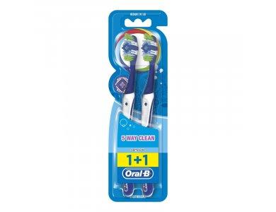 Oral-B Complete Clean 5 Way 40 Medium Οδοντόβουρτσα, Μπλε, 2τμχ.