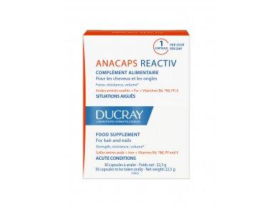Ducray Anacaps Reactiv, Συμπλήρωμα Διατροφής για Μαλλιά και Νύχια 30Caps