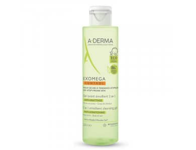 A-DERMA Exomega Control 2in1 Emollient Cleansing Gel, Gel Καθαρισμού για σώμα και μαλλιά, 200ml