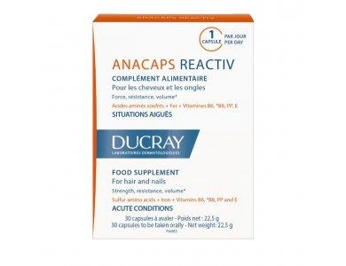 Ducray Anacaps Reactiv, Συμπλήρωμα Διατροφής για Μαλλιά και Νύχια, 30Caps