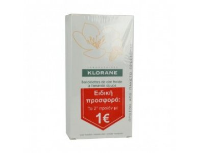 Klorane PROMO Hair Removal Cold Wax Small Strips With Sweet Almond Διπλές Αποτριχωτικές Ταινίες Για Το Πρόσωπο