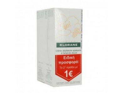 Klorane Creme Depilatoire Apaisante Αποτριχωτική Κρέμα για Ευαίσθητες Περιοχές, το 2ο με 1ευρώ, 2x75ml