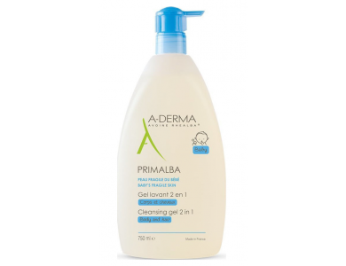 A-Derma Gel Lavant Primalba Body & Hair 2 in 1, Απαλό Βρεφικό Τζέλ Καθαρισμού για Σώμα &ι Μαλλιά 2 σε 1, 750ml