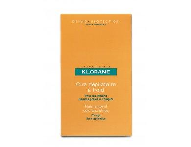 KLORANE Cold Wax Strips with Sweet Almond για Πόδια 6TEM