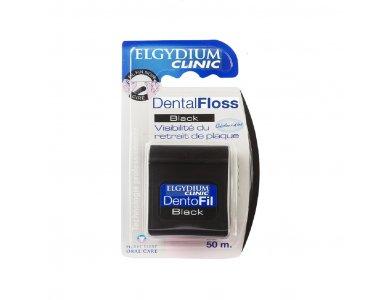 Elgydium Clinic Dental Floss Black Chlorhexidine Οδοντικό Νήμα Μαύρο Χρώμα 50m