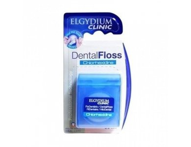 Elgydium Clinic Dental Floss Chlorhexidine Οδοντικό Νήμα 50m