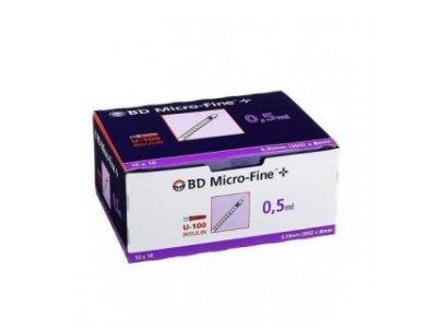 BD Microfine Σύριγγες Ινσουλίνης 0.30mm 30G Χ 8MM 0.5ml 100 Τεμάχια