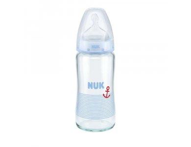 Nuk First Choice Plus (10.745.068) Μπιμπερό Γυάλινο 0-6 Μηνών με Θηλή Σιλικόνης Μ Μεγέθους 1 Μπλε, 240ml