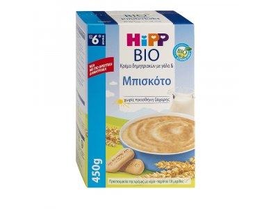 HIPP ΒΙΟ ΚΡΕΜΑ ΜΠΙΣΚΟΤΟ & ΓΑΛΑ 6+ 450GR