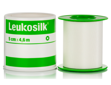 LEUKOSILK  Αυτοκόλλητη Επιδεσμική Ταινία (λευκοπλάστ) από Συνθετικό Μετάξι, 5cm x 4.6m, 1τμχ