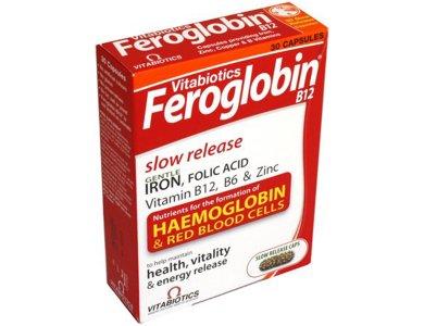 VITABIOTICS Feroglobin Gentle Iron, Folic Acid, B12 Slow Release 30CAPS