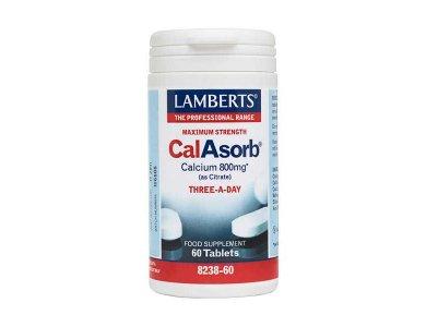 Lamberts CalAsorb - Calcium 800mg (as citrate) Ασβέστιο Υψηλής Απορρόφησης 60 Ταμπλέτες