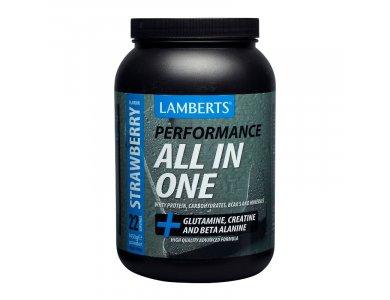 Lamberts Performance All-In-One Whey Protein STRAWBERRY, Πρωτε?νη Ορού Γάλακτος με Γεύση Φράουλα, 1450gr