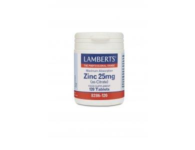 Lamberts Zinc Citrate 25 mg Συμπλήρωμα Ψευδάργυρου, 120 tabs