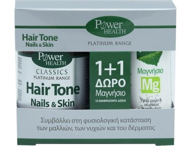 POWER HEALTH PLATINUM HAIRTONE NAILS & SKIN 30s CAPS + ΔΩΡΟ MAGNESIUM 10s