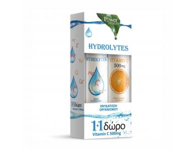 POWER HEALTH Hydrolytes 20 Αναβράζοντα Δισκία + ΔΩΡΟ Vitamin C 500mg Πορτοκάλι 20 Αναβράζοντα Δισκία