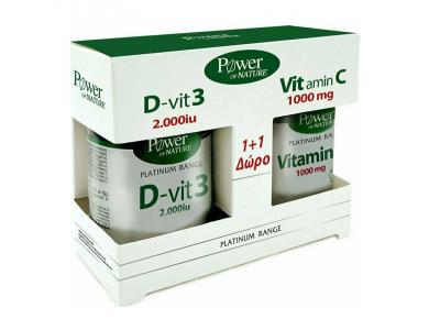 Power Health Classics Platinum Range Vitamin D-Vit3 2000iu 60tabs & Vitamin C 1000mg 20tabs