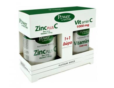 Power Health Classics Platinum Range Zinc Plus C 16mg/150mg 30tabs, +ΔΩΡΟ Vitamin C 1000mg 20tabs