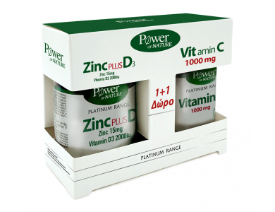 POWER HEALTH Platinum Zink Plus D3 15mg/2000iu 30caps, +Δώρο Vitamin C 1000mg 20tabs