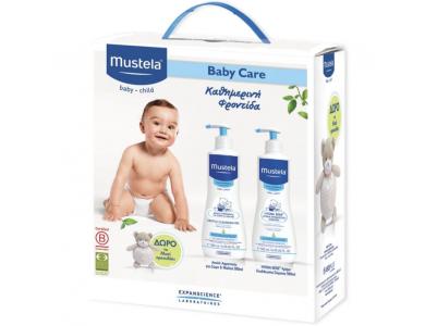 Mustela Baby Care Set με Gentle Cleansing Gel για Μαλλιά & Σώμα 500ml +Hydra-Bebe 500ml +Δώρο Αρκουδάκι, 1τμχ