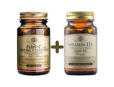 Solgar Ester-C Vitamim C 1000mg 30caps & Solgar Vitamin D3 2200iu 55μg 50caps
