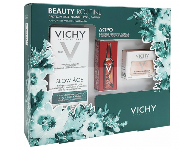 Vichy Beauty Routine Slow Age Fluid Spf25 50ml, Liftactiv Glyco-c Night Peel 2ml & Mask Peel Double Eclat 15ml