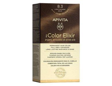Apivita My Color Elixir kit Μόνιμη Βαφή Μαλλιών, 8.3 (Ξανθό Ανοιχτό Μελί)