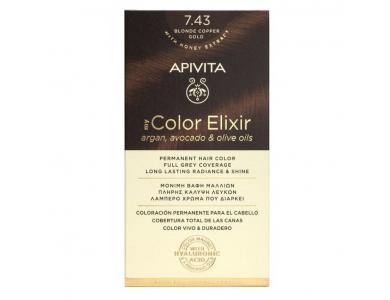 Apivita My Color Elixir kit Μόνιμη Βαφή Μαλλιών, 7.43 (Ξανθό Χάλκινο Μελί)