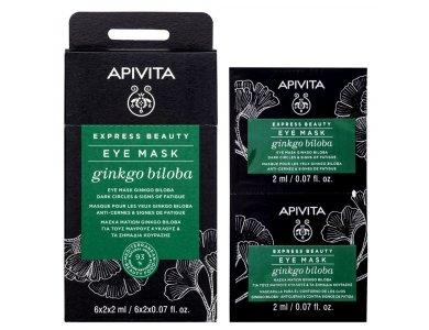 Apivita Ginkgo Biloba Eye Mask, Μάσκα Ματιών Για Μαύρους Κύκλους & Για Την Κούραση, 2x2ml