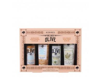 Korres Promo Pure Greek Olive Σαμπουάν 40ml, Μαλακτική Κρέμα 40ml, Αφρόλουτρο 40ml & Κρέμα Σώματος 40ml