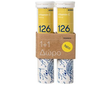 Korres 126 Vitamin C 1000mg 1+1 Δώρο, Για την Ενίσχυση του Ανοσοποιητικού, σε Αναβράζοντα Δισκία, 2x18tabs