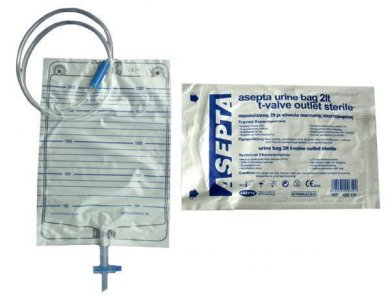 Asepta Urine Bagwith T-valve outlet sterile, Ουροσυλλέκτης με Κάνουλα εκκένωσης αποστειρωμένος 2lt
