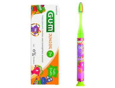 GUM Set Junior Light-Up Yellow Soft, Οδοντόβουρτσα & Junior Οδοντόκρεμα 7-12 Ετών Tutti Frutti, 50ml