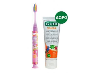 GUM Set Junior Light-Up Ροζ Soft, Οδοντόβουρτσα & Junior Οδοντόκρεμα 7-12 Ετών Tutti Frutti, 50ml