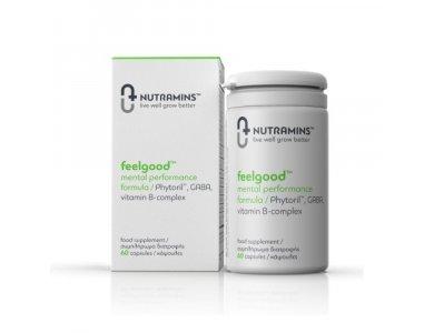 Nutramins Feelgood 60caps, Συμπλήρωμα Διατροφής για την μείωση άγχους, καλύτερη διάθεση και διαύγεια