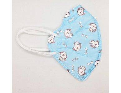 Tie Xiong FFP2 KN95  Mask for Kids Puppy, Παιδική Μάσκα Υψηλής Προστασίας FFP2 KN95, Γαλάζια με σκυλάκι, 1τμχ