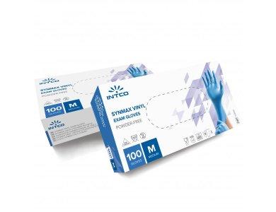 Intco Synmax, Γάντια Βινυλίου Συνθετικά χωρίς Πούδρα, Μπλε, Medium, 100τμχ