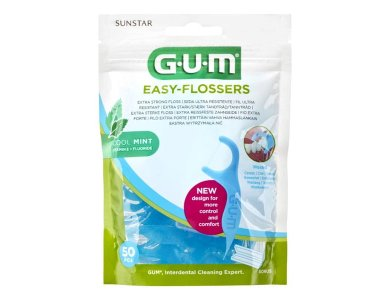 Gum (890) Easy Flossers New,  Κηρωμένο Οδοντικό Νήμα με Δροσιστική Γεύση Μέντας, 50τμχ