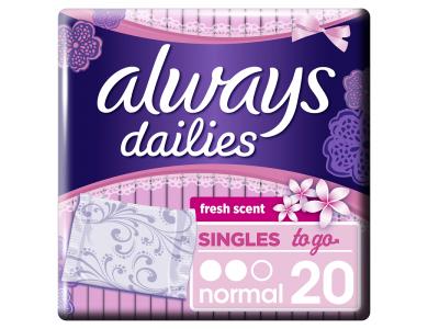 Always Dailies To Go Normal Fresh, Σερβιετάκια για Καθημερινή Χρήση, 20τμχ