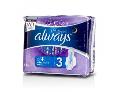 Always Platinum Ultra Super Plus Size 3, Σερβιέτες για Προστασία κατά την διάρκεια της Νύχτας, 6τμχ